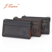 J Quinn Boss Men Buffalo Leather Zip Travel Organizer Clutch Wallets Hand Bag European And American