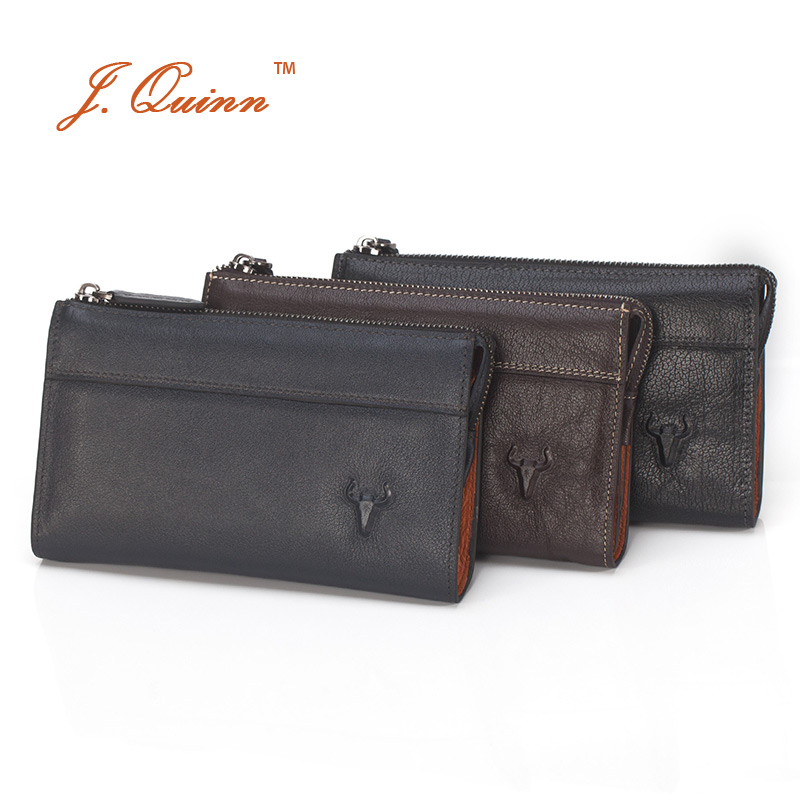 J.Quinn Boss Men Buffalo Leather Zip Travel Organizer Clutch Wallets Hand Bag European and American Male Money Mens Wallet Purse dollar price new european and american ultra thin leather purse large zip clutch oil wax leather wallet portefeuille femme cuir