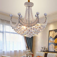 hot deal buy modern chandeliers led lamps american silver gold k9 crystal chandelier lights fixture hall bed living room home indoor lighting