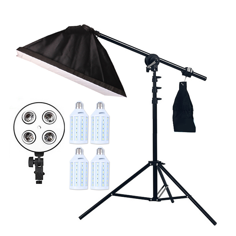 4pcs 20W LED Light Photo Studio Video Lighting Kit Light Stand*SoftBox With 4 * E27 lamp holder*Boom Arm 75-135cm Hairlight photographic lighting led film light nicefoto mf 2000f video photo studio flash light lamp power 200w 5500k with dc ac input