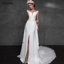 VNXIFM 2019 Hot Sales Illusion Mermaid Wedding Dresses  Garden Beach Bridal Dress For Weddings Custom Quality Sheer Tulle Gown