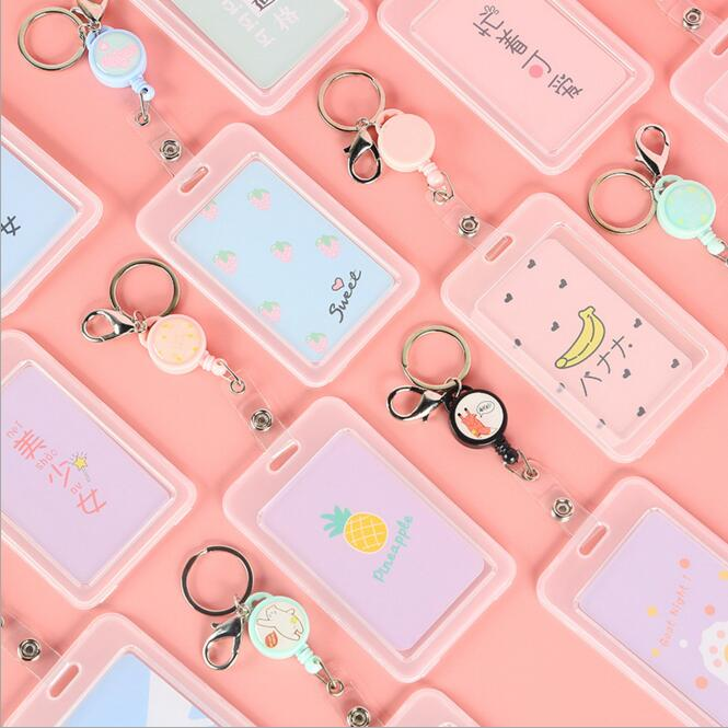 1PC Kawaii Cartoon Unicorn Bus Card Holder Cover Case Keychain Credit Bank Card Bag School Office Stationery Accessories