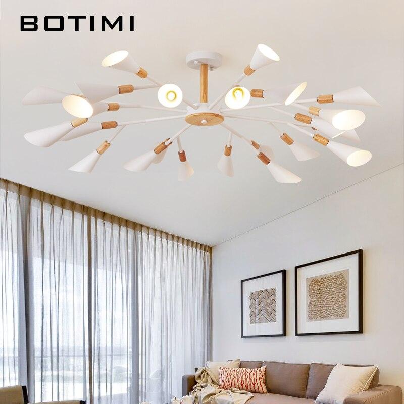 BOTIMI Designer Chandelier For Living Room Modern White Lustre Wooden Bedroom Lighting Nordic Surface Mounted Chandeliers