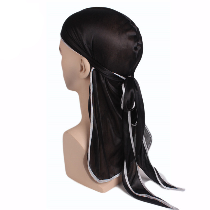 Fashion Headband <font><b>Men's</b></font> <font><b>Silk</b></font> <font><b>Durags</b></font> Bandana Turban Hat Wigs Doo Durag Biker Headwear Headband Pirate Hat Hair Accessories image