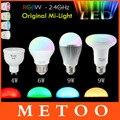 Regulável mi luz milight gu10 e27 conduziu a lâmpada 4 w 6 w 9 w Lâmpada Led RGB 2.5G 85-265 V 110 V 220 V RGB/WW RGB + BRANCO QUENTE Lampada luz