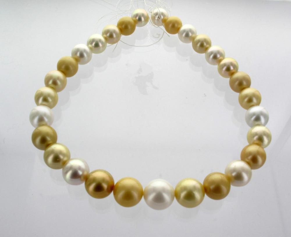 gorgeous 11-12mm south sea round gold white multicolor pearl necklace 18inch gorgeous 11-12mm south sea round gold white multicolor pearl necklace 18inch