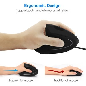 Image 2 - Wired Left Hand Vertical Mouse Ergonomic 1600DPI USB Optical Wrist Healthy Mice With Pad For Computer
