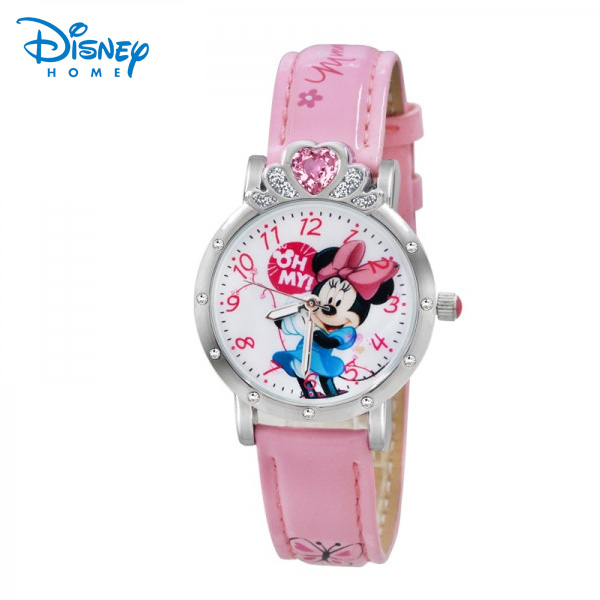 100% Genuine Disney Brand Minnie Cinderella watches cartoon Casual Wrist watch relogio masculino quartz-watch 95012-2