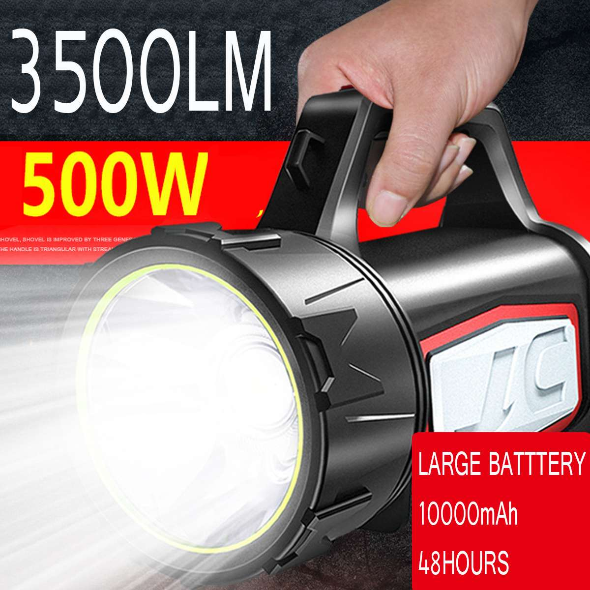 10000MAh Rechargeable Dual LED Work Light Torch Power Spotlight Hand Lamp 500W