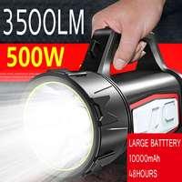 3500LM USB Lade LED Arbeit Licht Taschenlampe 10000mAh Batterie Scheinwerfer Hand Lampe Camping Laterne Scheinwerfer für Wandern Jagd