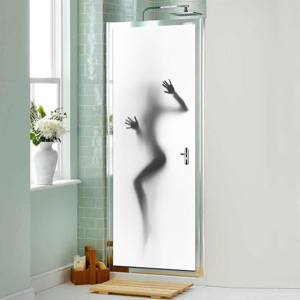عارية فتاة امرأة أبواب الحمامات ملصقات مقاوم للماء الذاتي كلوريد متعدد الفينيل اللاصق الباب خلفية جدارية ديكور المنزل 77 سنتيمتر * 200 سنتيمتر