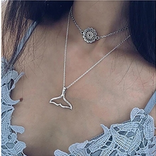 Dream Catcher Double-layer Necklace Pendants for Women Fhshion Cute Dolphin Tail Jewelry Accessories Collar Halsketting