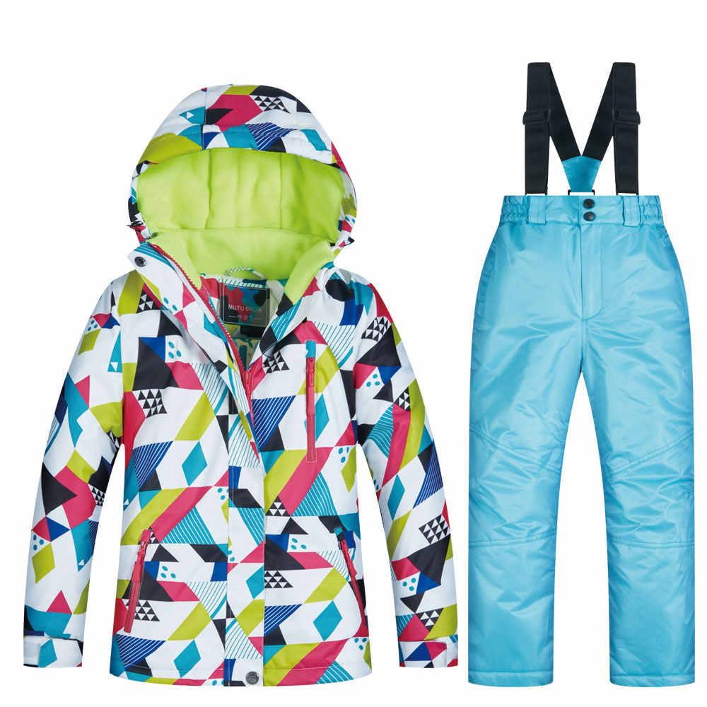 2019 г. новый детский лыжный костюм брендовая ветронепроницаемая Водонепроницаемая теплая зимняя одежда для девочек, зимний лыжный костюм и куртка для сноуборда для детей