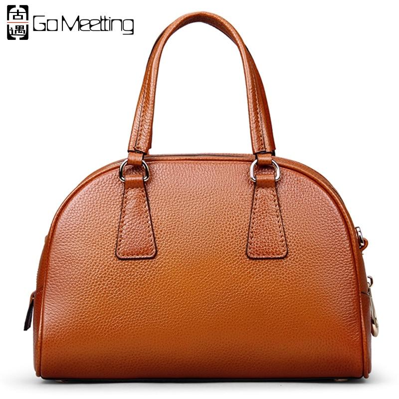ФОТО Go Meetting Brand Genuine Leather Women's Handbags High Quality Cowhide Women Shoulder Bag Vintage Half Moon Messenger Bags WS47