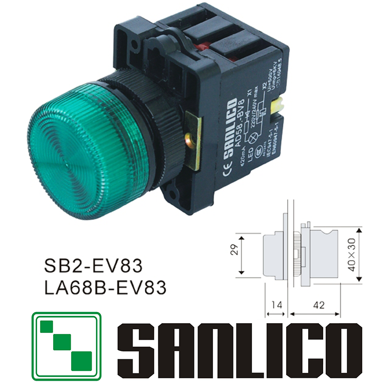 illuminated indicator pilot light with LED SB2(LA68B XB2)-EV83