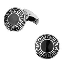 High quality fashion men's shirts Cufflinks Black Enamel Cufflinks round the Great Wall pattern brass material wholesale and ret
