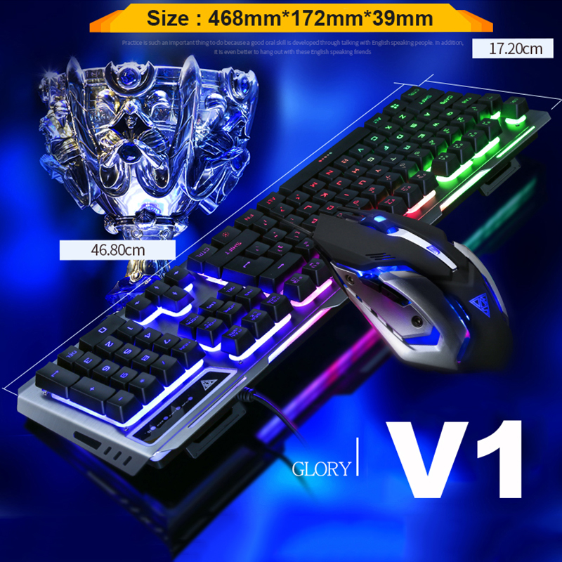 5112ecee1bd V1 Wired Rainbow Backlit illuminated Ergonomic Usb Gaming Keyboard Gamer +  3200DPI Optical Game Mouse Laptop Computer+ Mouse pad-in Keyboard Mouse  Combos ...
