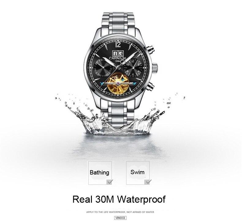 Homens automáticos Auto Vento Relógios Masculinos de Luxo Da Marca Tourbillon Relógio Mecânico Casual Vestido À Prova D' Água Esporte Relógio Suíça - 5
