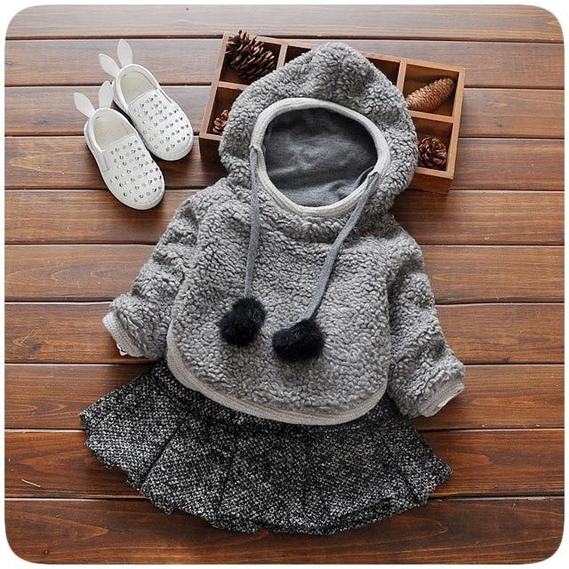 Зима девочка одежда Симпатичные длинным рукавом Теплый девушка дети платье