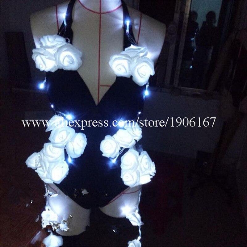 Nouvelle conception Led fleur Sexy fille combinaison mode Led fille femmes DJ chanteur scène Performance Sexy robe led costumes