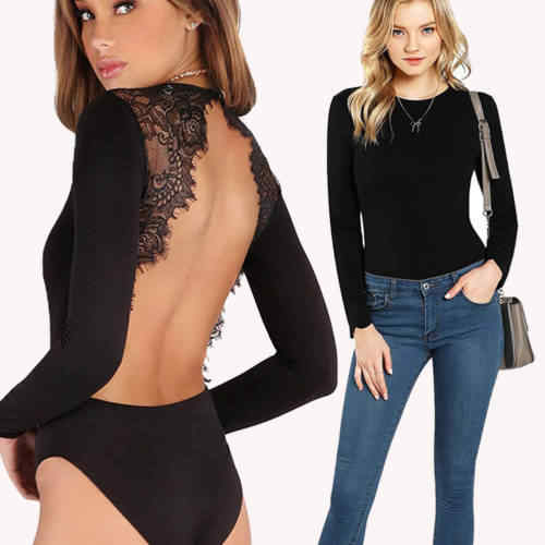 37a1ec2db4d Detail Feedback Questions about Women s Long Sleeve Backless Stretch ...