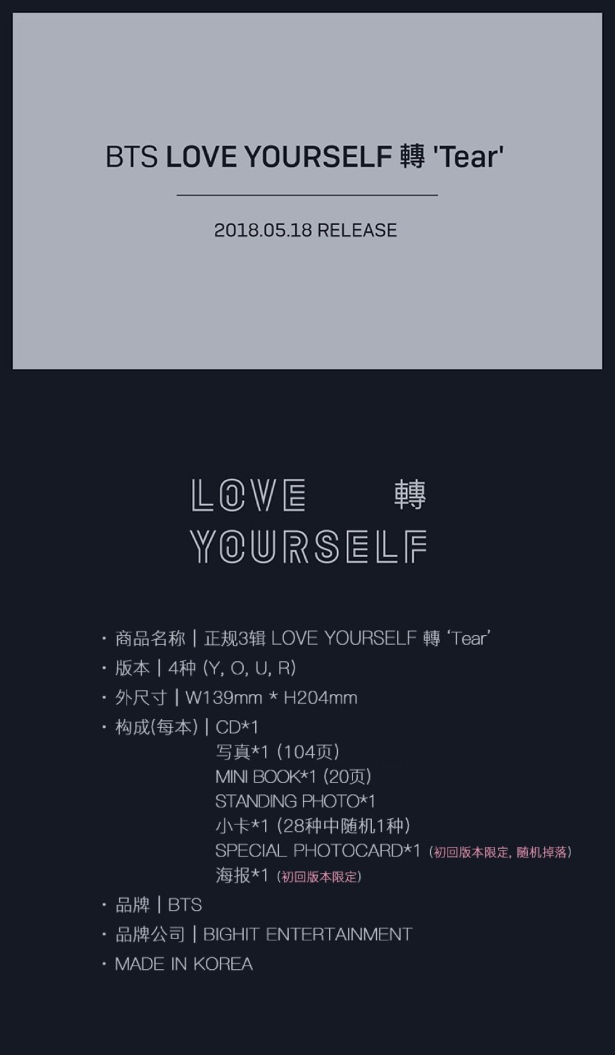 NEST BTS - 2018 BTS LOVE CD LOVE YOURSELF Turn