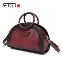 AETOO Ladies woven handbag 2018 new retro fashion shoulder Messenger bag shell bag leather female bag