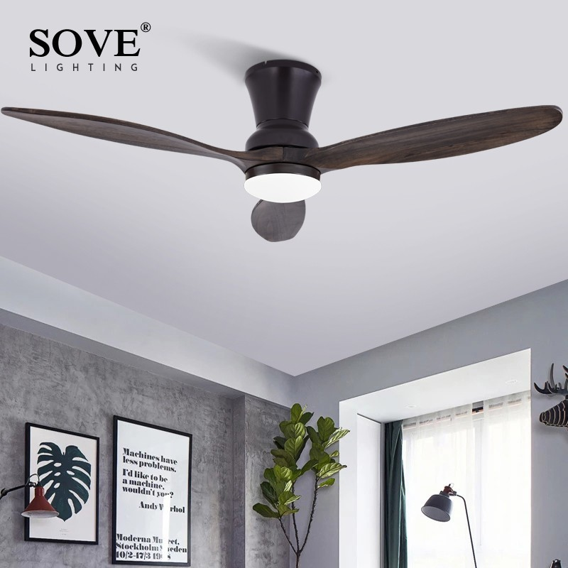 SOVE Black Modern LED 15W Wooden Ceiling Fan Wood Ceiling Fans Without Light Home Fan Lamp White DC Ceiling Fans With Lights