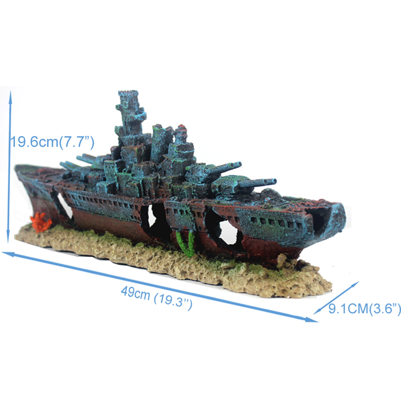 NUOVO 49 cm Navy Nave Da Guerra Nave Batttle Resina Barca Aqaurium Fish Tank Decorazione Ornamento-in Decorazioni da Casa e giardino su  Gruppo 3