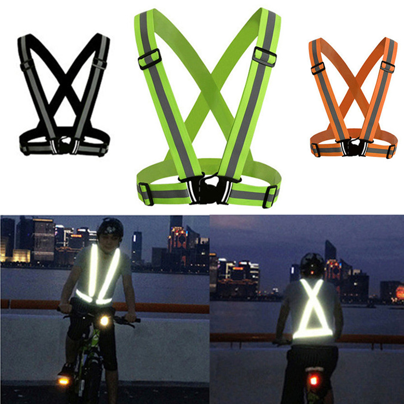 High Visibility Reflective Vest Unisex Outdoor Running Cycling Safety Vest Adjustable Elastic Strap Fluorescence Work Jacket