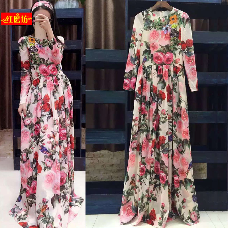 New  summer style heavy industry sequins nail beads rose printing elegant pendulum holiday wind long dress scarves