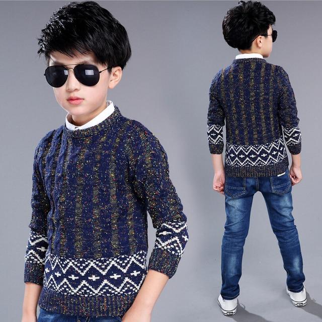 2017 Baby Boys Sweater Kids Wool Sweaters Vest Knitted Children Kids Knitted Pullover Warm Outerwear Sweater Kids Knitwear
