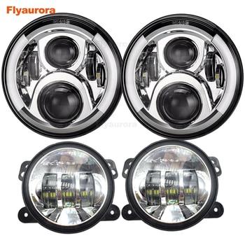 "Flyaurora DOT 7 ""LED Halo Headlights + 4''Halo Lights JK LJ CJ Sahara Sport Rubicon Headlights for Jeep Wrangler"