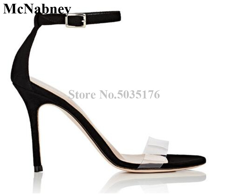 2019 European Newest Fashion Solid PVC Peep Toe Ankle Buckle Strap Women Sandals High Heel Stiletto Heel Dress Women Shoes2019 European Newest Fashion Solid PVC Peep Toe Ankle Buckle Strap Women Sandals High Heel Stiletto Heel Dress Women Shoes