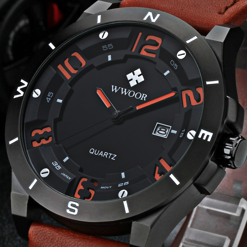 WWOOR Luxury Brand Watch Men Military Sports Watches Men's Quartz Analog 3D Face Hour Clock Male Leather Belt table Wrist Watch 2016 luxury wristwatch black leather belt male automatic watch men s sports watch black face