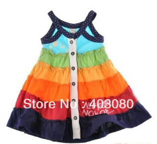rainbow 12 months-3years Baby one-piece dress children girl sleeveless dress Bust Short dress ZG:S-L