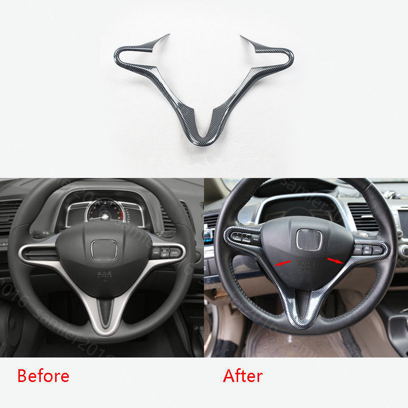 Car Inner Steering Wheel Buttons Cover Trim Frame Decal Fit For Honda Civic 2009 2011 Car Styling Sticker Decoration Accessories
