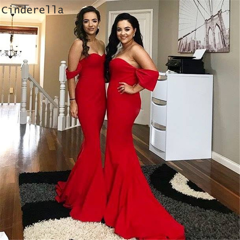 Cinderella Sweetheart Special Sleeves Court Train Zipper Back Back Satin Mermaid Bridesmaid Dresses Red Trumpet Bridesmaid Gowns