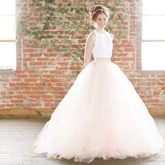Two Pieces Simple Outdoor Pretty Tulle Bridal Dresses Tank With Tutu Skirt  Bridal Dress Wedding Dress