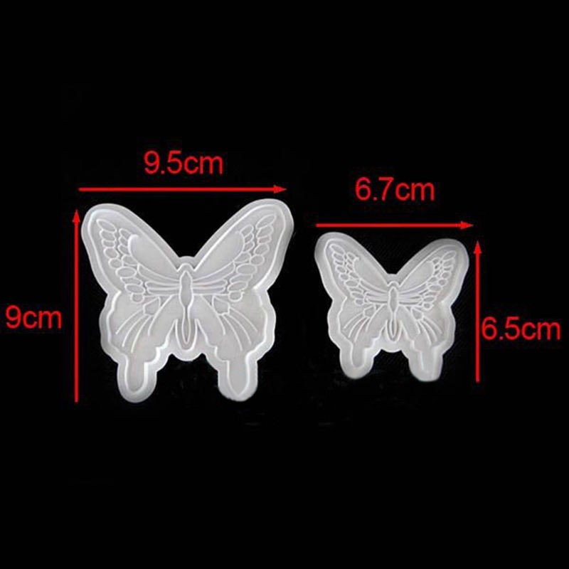 Plastic Butterfly Shape Cake Fondant Mold And Cookie Plunger Cutter Tools 4