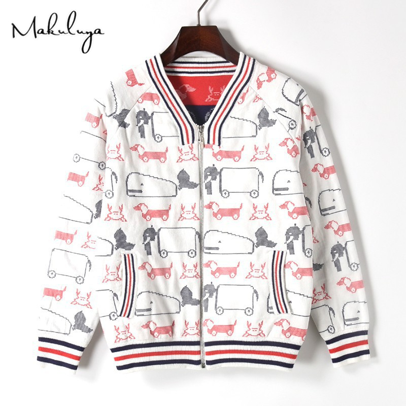 Makuluya Casual Cartoon Whale Dog Elephant Crab Animal Jacquard Thickening Sweater Zipper Baseball Jacket Female High Quality QW