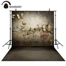Allenjoy 写真撮影背景レトロ春蝶の花の愛の背景 photobooth の写真撮影の小道具の装飾プリント photocall