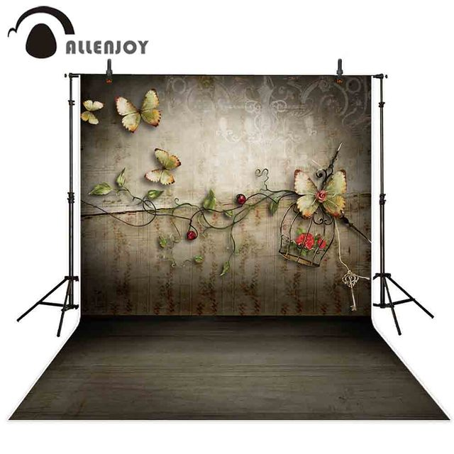 Allenjoy צילום רקע רטרו אביב פרפר פרח אהבת רקע תא צילום אבזר צילומים דקור מודפס שיחת וידאו