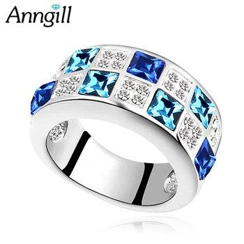 4ddaed3c60fa Pavé cristales de anillos de Swarovski anillo de cóctel romántico de lujo  para mujer joyería de