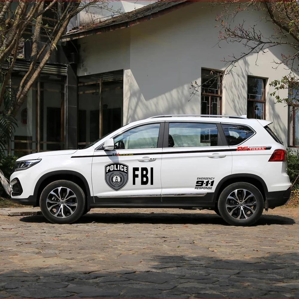 A Set Black FBI 911 RS TIERRA Decals Luxury Car Body Side