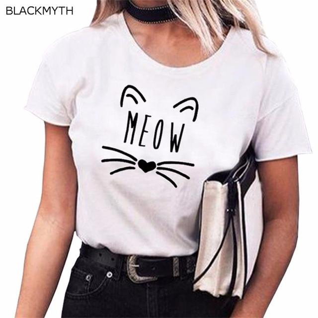 3497b4399d3 BLACKMYTH las mujeres de manga corta de cuello redondo de algodón camiseta  adolescente chicas lindo camisetas