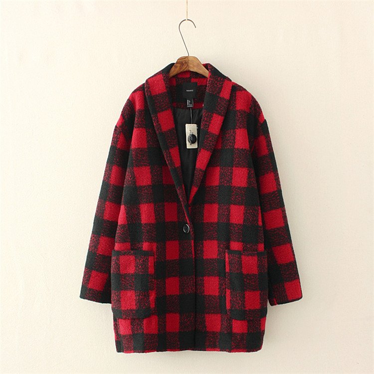 Popular Red Plaid Coat-Buy Cheap Red Plaid Coat lots from China ...