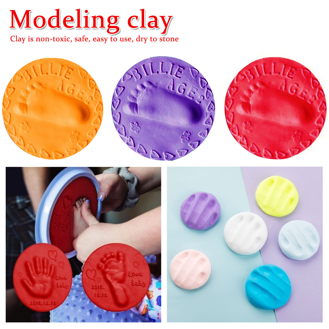 Baby Hand Print Footprint Imprint Kit Stereo Casting Air Drying Soft Clay Baby Hand Foot Fingerprint Pad