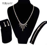 Professional party luxury 4pcs jewelry sets Gold plate Necklace+Bracelet+earrings+Free gift ring Large CZ Women jewellery set