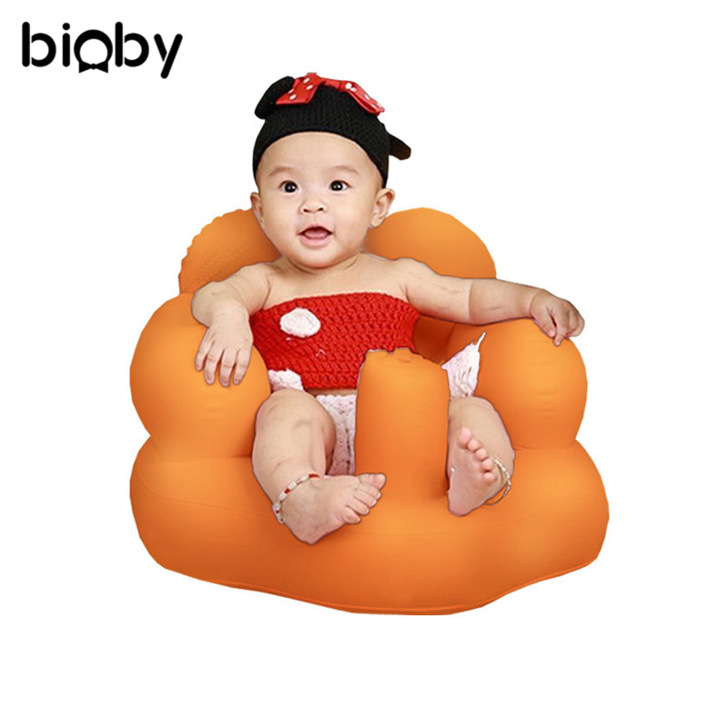 Kids Baby Seat Inflatable Chair Sofa Bath Seats Dining Pushchair Champagne PVC Infant Portable Play Game Mat Sofas Learn Stool